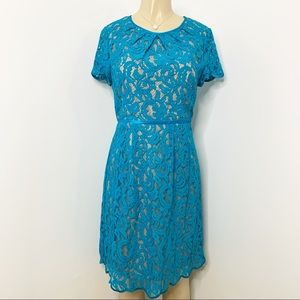 ADRIANNA PAPELL Turquoise Blue Lace Midi Dress 8